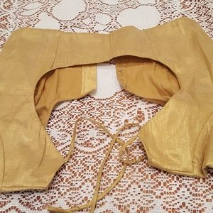 Gold choli saree blouse